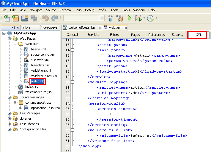 NetBeans with struts framework project - the web.xml file content