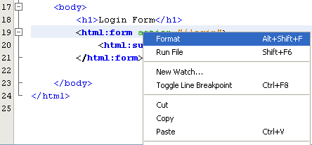 NetBeans with struts framework project - tidy up the code using Format menu