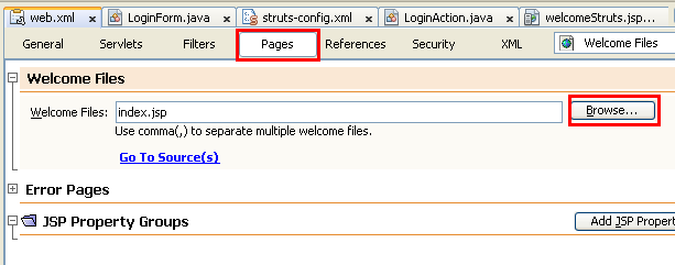 NetBeans with struts framework project - setting the welcome/first JSP page to be served