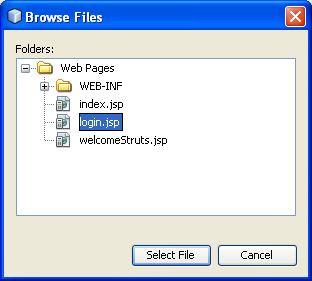 NetBeans with struts framework project - the first page to be served is login.jsp page