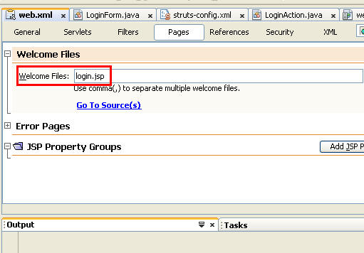 NetBeans with struts framework project - login.asp page as the welcome file(s)