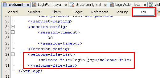 NetBeans with struts framework project - the source code for welcome file(s)