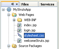 NetBeans with struts framework project - stylesheet file seen from WEB-INF folder