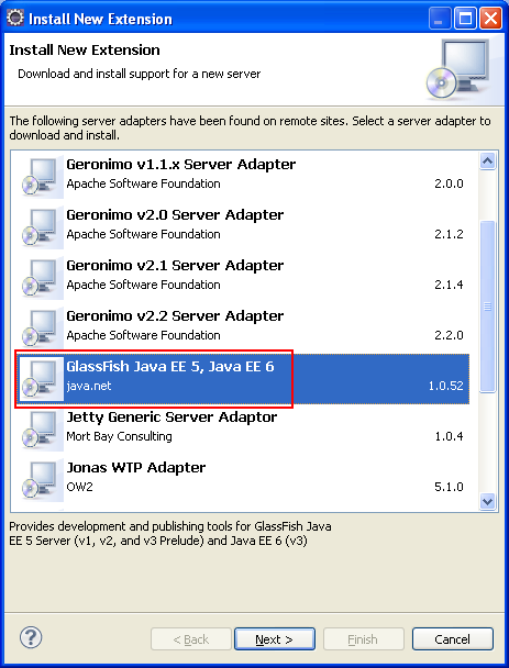Eclipse - Install new Extension - selecting GlassFish Java EE 5, Java EE 6 web server adapter