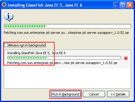 Eclipse - the GlassFish web server installation can be suppressed to be done at the background