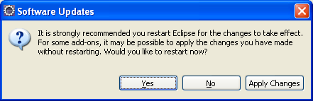 Eclipse - restarting the Eclipse in order the new installation will take effect