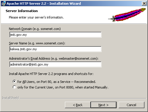 Apache on Windows 2003 server installation step-by-step screen shots