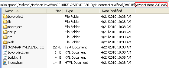 Uncompressed Java Pet Store files and folders