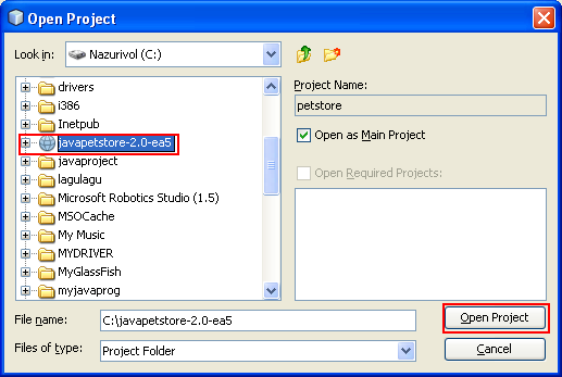 Selecting the java pet store project folder