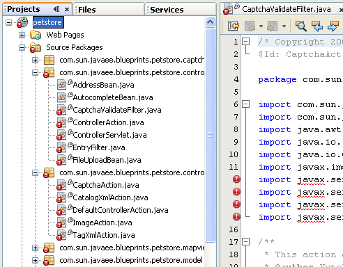 Missing Server Problem errors seen in the opened project in NetBeans