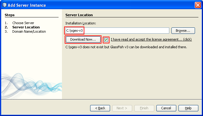 Setting the Web server installation path. The name must be sges-v3 and can start downloading the files