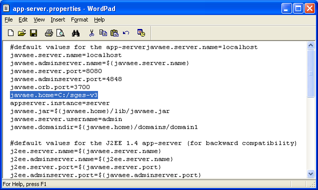 The app-server.properties file content with edited new web server path