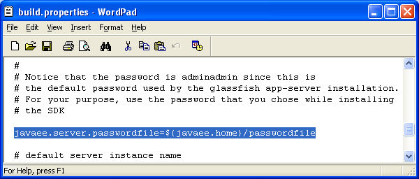 Viewing the GlassFish web server admin password in build.properties file