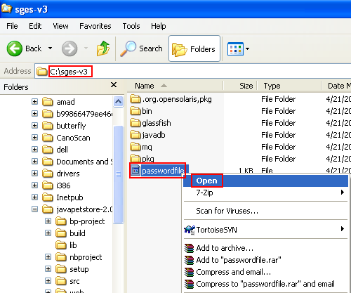 Opening the passwordfile of the GlassFish web server