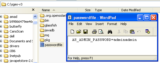 Resetting the GlassFish web server admin password. However in this case we just reset the password to the original one: adminadmin