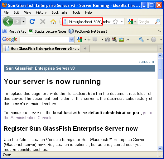 Testing GlassFish web server from Internet Browser