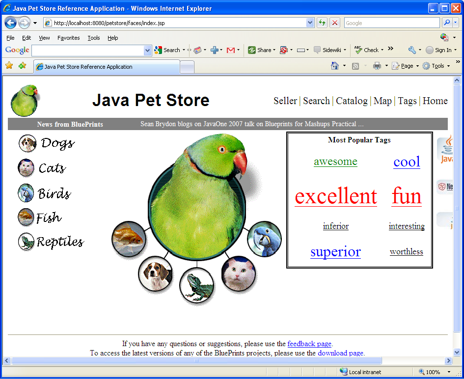 A very nice pets seen in browser for Java Pet Store demo example