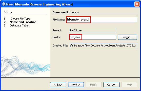 Setting the name and location for the Hibernate Reverse Engineering Wizard