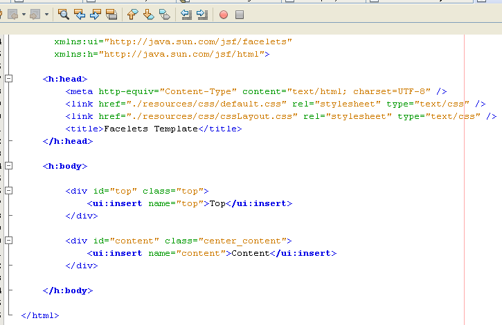 The file template.xhtml opens and viewed in the editor