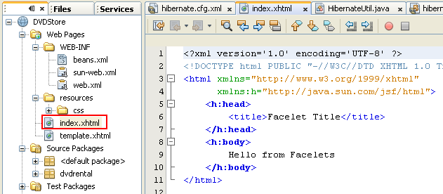The New Project wizard generated default index.xhtml page