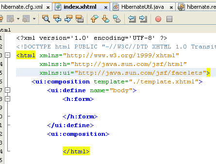 Modifying the page to use the JSF <ui:composition> and <ui:define> elements and adding a <h:form> element