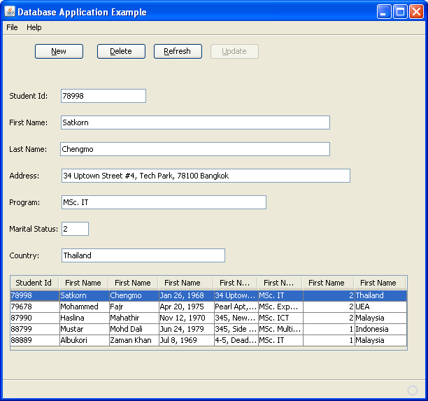 Step-by-step on Java desktop GUI application and MySQL database screenshots