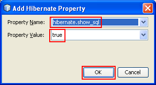 Setting the Hibernate property name and its value