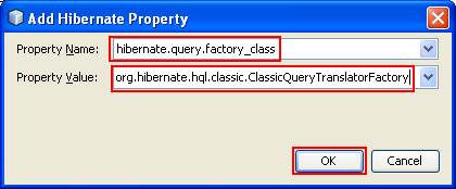 Setting the Hibernate Property Name and Value