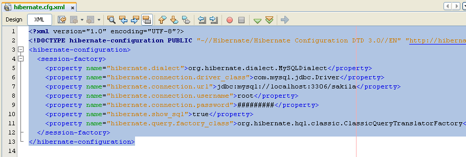 The XML format for hibernate.cfg.xml file