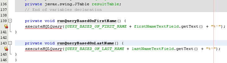 Adding runQueryBasedOnFirstName() and runQueryBasedOnlastName() methods the class