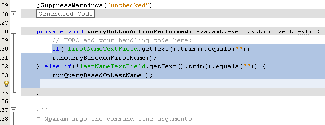 Adding the queryButtonActionPerformed() method to handle the event when the Query button is clicked
