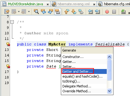 Selecting the Getter() and Setter() methods to be inserted to the source code