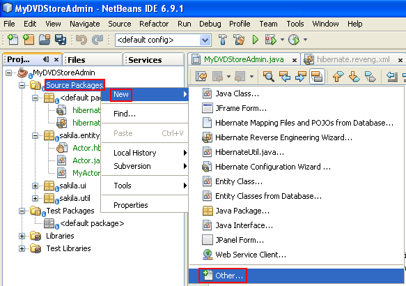 Invoking the New File wizard from the Project windows in NetBeans 6.9.1