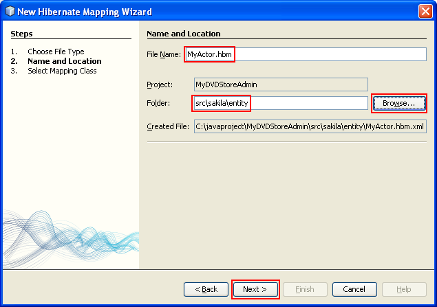 Assigning the Hibernate Mapping file name and the folder location