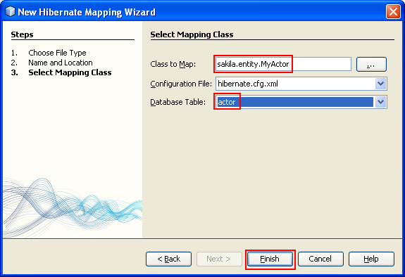 Assigning the class to map and the database table to use