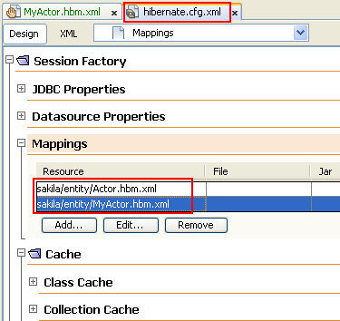The added entry for the mapping resource (MyActor.hbm.xml) to hibernate.cfg.xml file