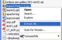 Java, Aspect Oriented Programming, Aspectj and Eclipse - unzipping the AOP with AspectJ zip file