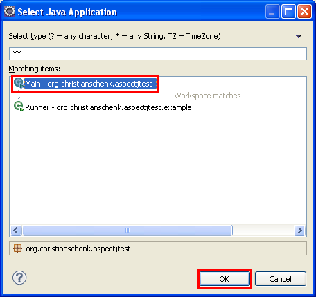 Java, Aspect Oriented Programming, Aspectj and Eclipse - selecting the Main project entry point