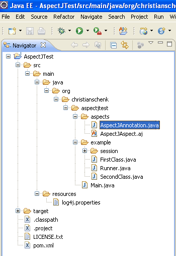 Java, Aspect Oriented Programming, Aspectj and Eclipse - invoking the java source file