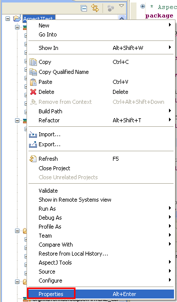 Java, Aspect Oriented Programming, Aspectj and Eclipse - invoking the project properties page in Eclipse