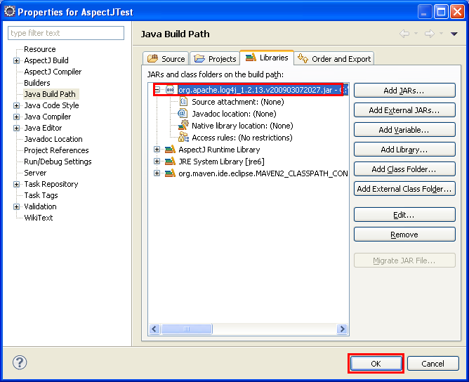 Java, Aspect Oriented Programming, Aspectj and Eclipse - the new added JAR file is visible in the Eclipse Libraries page