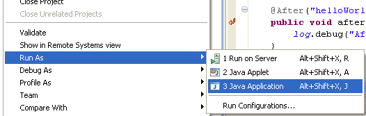 Java, Aspect Oriented Programming, Aspectj and Eclipse - re-running the project in Eclipse as Java Application