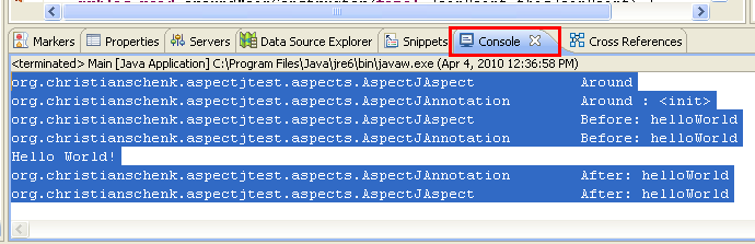Java, Aspect Oriented Programming, Aspectj and Eclipse - a sample project output seen in the Eclipse output window