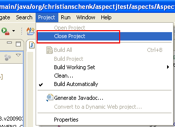 Java, Aspect Oriented Programming, Aspectj and Eclipse - closing the project