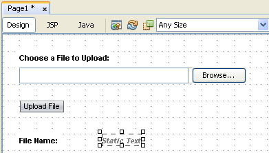Step-by-step on Java Visual web JSF application: uploading files project screen snapshots