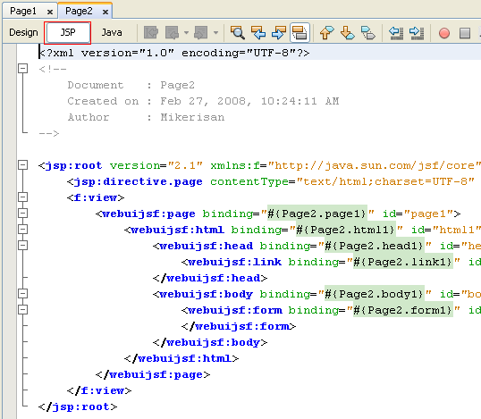 Step-by-step on Visual web Java Server Faces (JSF) application development screenshots
