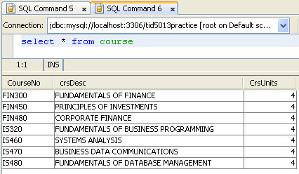 MySQL and NetBeans - SQL database manipulation language (DML) practice screen shots