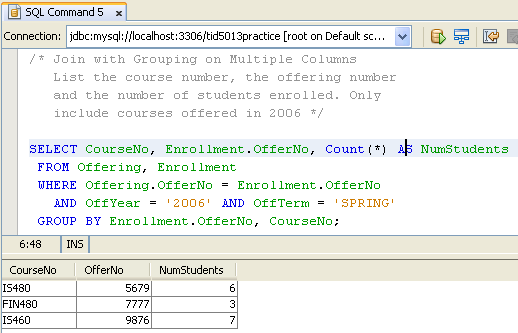 A hands-on practice on SQL DML of the MySQL using Java
