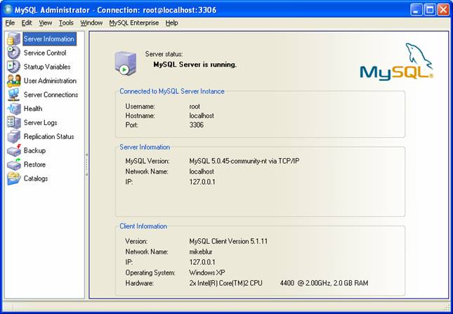 step-by-step on install, test and use MySQL GUI tool screen snapshots
