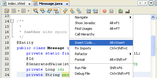 NetBeans IDE: selecting the Java web application project, invoking the Insert Code context menu